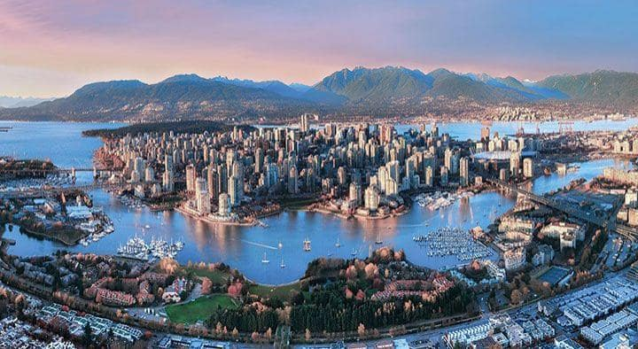 Aerial Sunset In Vancouver